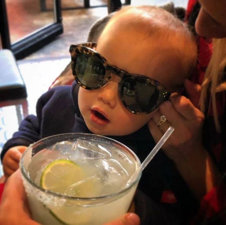 baby with sunglasses on margarita monday